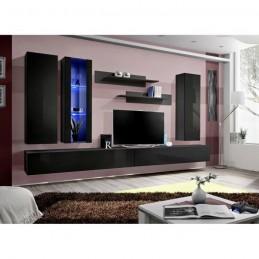 Meuble TV FLY E4 design, coloris noir brillant. Meuble suspendu moderne et tendance pour votre salon.