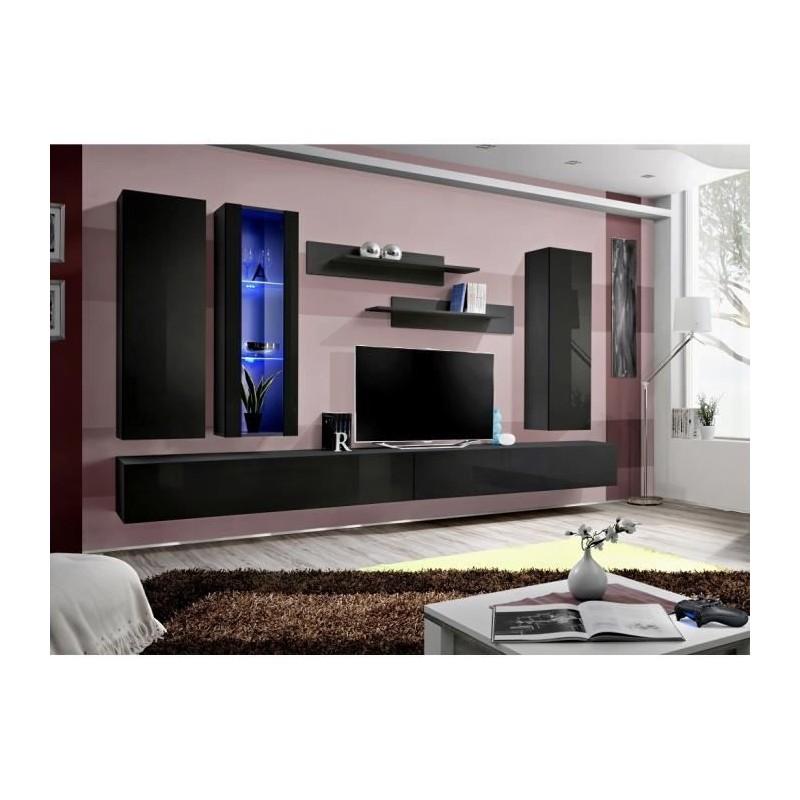 Ensemble complet meuble tv fly e4 design coloris noir brillant me - Meuble salon fly ...