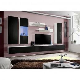 Meuble TV FLY E5 design, coloris blanc et noir brillant. Meuble pour votre salon.