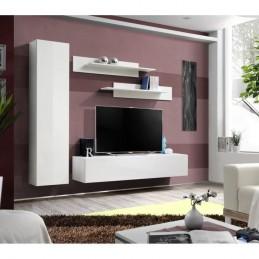 Meuble TV FLY G1 design, coloris blanc brillant. Meuble suspendu moderne et tendance pour votre salon.
