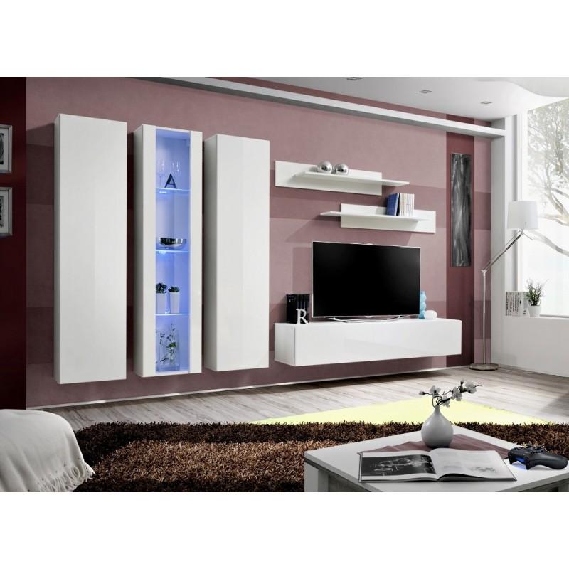 Meuble TV FLY C4 design, coloris blanc brillant. Meuble suspendu mo...