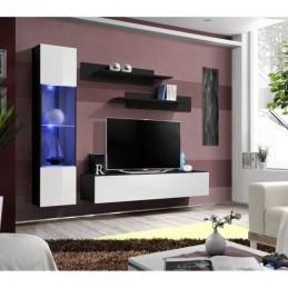 Meuble TV FLY G3 design, coloris noir et blanc brillant. Meuble suspendu moderne et tendance pour votre salon.