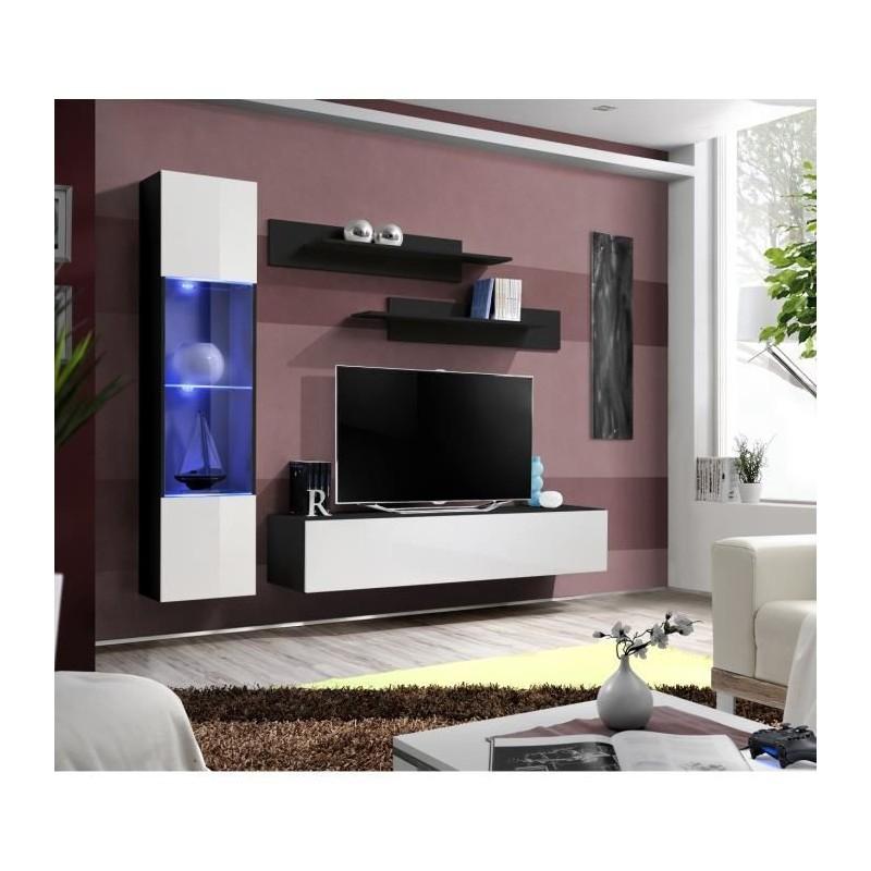 Meuble tv fly g3 design coloris noir et blanc brillant meuble sus for Meuble pour salon moderne