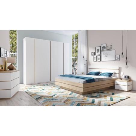 Chambre à coucher complète PIETRO. Lit 160x200 cm + sommier + chevets + commode + armoire. Ensemble type scandinave