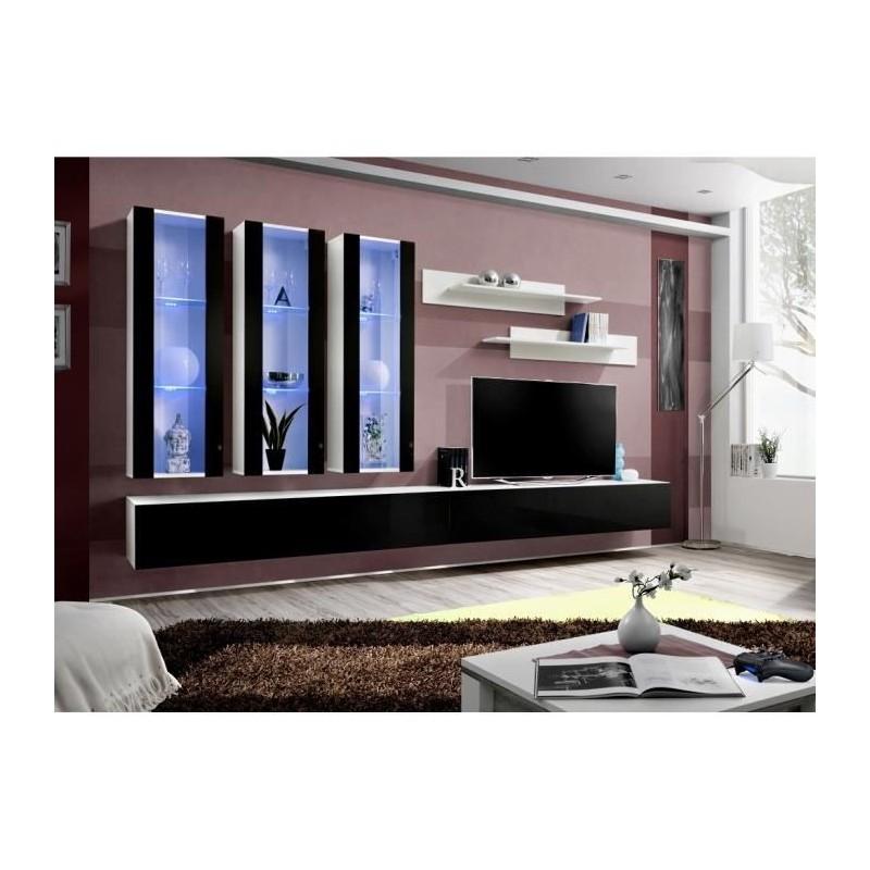 Meuble TV FLY E3 design, coloris blanc et noir brillant. Meuble sus...