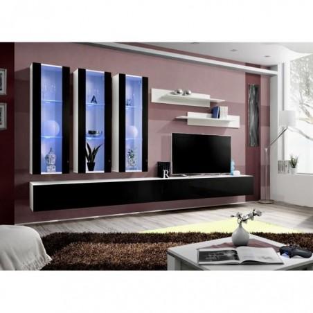Meuble TV FLY E3 design, coloris blanc et noir brillant. Meuble suspendu moderne et tendance pour votre salon