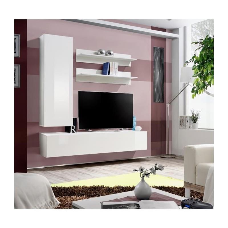 ENSEMBLE COMPLET Meuble TV FLY H1 design, coloris blanc brillant. M...