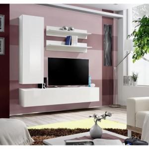 Meuble TV FLY H1 design, coloris blanc brillant. Meuble suspendu moderne et tendance pour votre salon.
