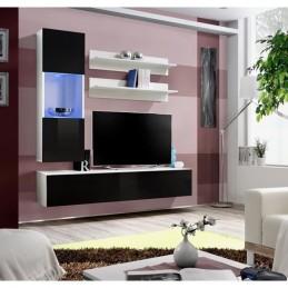 Meuble TV FLY H3 design, coloris blanc et noir brillant. Meuble suspendu moderne et tendance pour votre salon.