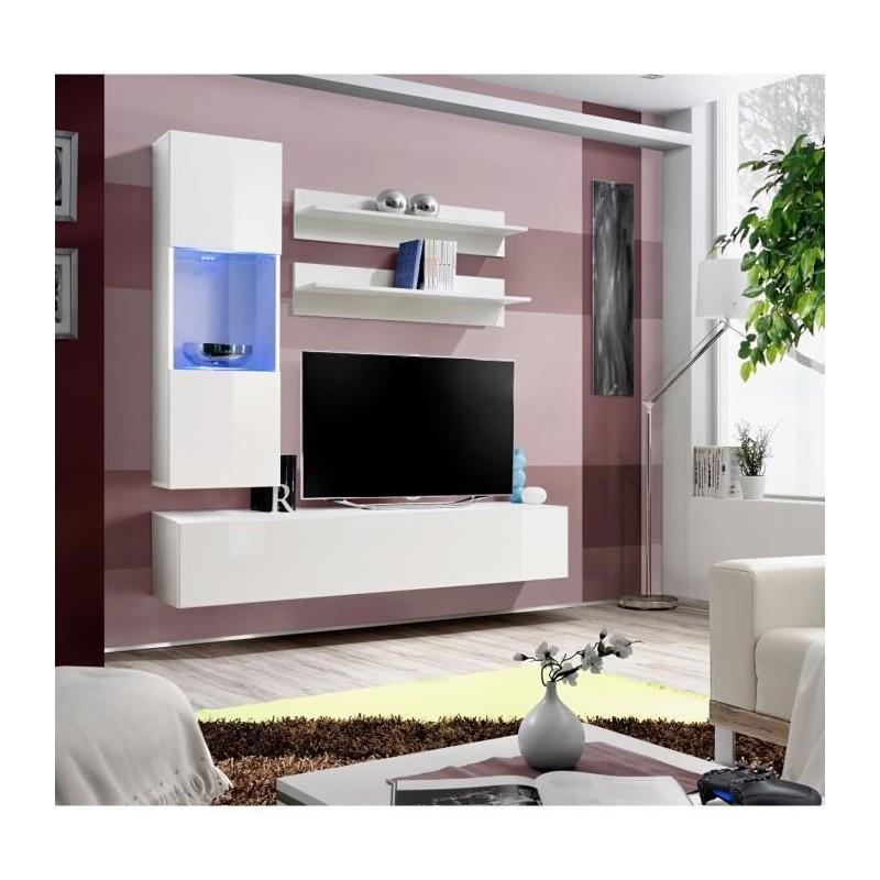 Meuble TV FLY H3 design, coloris blanc brillant. Meuble suspendu moderne et tendance pour votre salon.