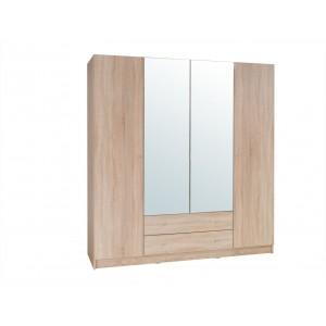 Armoire 4 portes de 2 mètres avec miroirs pour chambre à coucher MAXIM coloris dab sonoma.