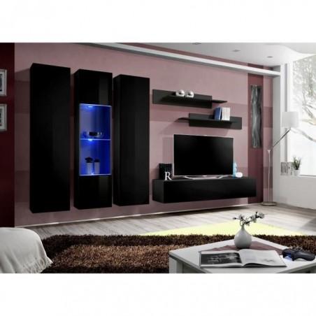 Meuble TV FLY C5 design, coloris noir brillant. Meuble suspendu moderne et tendance pour votre salon.