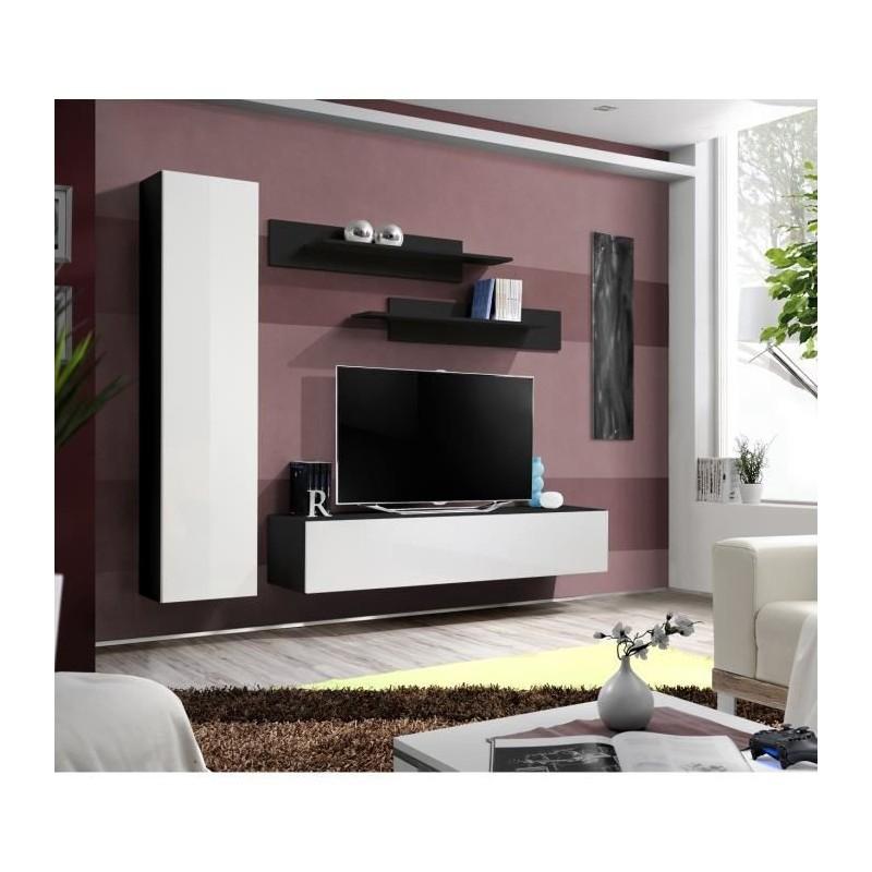 Salon meuble tv fly g1 design coloris noir et blanc brillant meub for Meuble salon noir et blanc