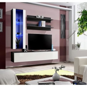 Meuble TV FLY H2 design, coloris noir et blanc brillant. Meuble suspendu moderne et tendance pour votre salon.