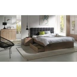Ensemble pour chambre à coucher MAXIM. Lit adulte deux places 160x200 cm + tiroir + sommier + deux chevets + commode