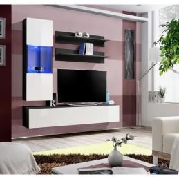 Meuble TV FLY H3 design, coloris noir et blanc brillant. Meuble suspendu moderne et tendance pour votre salon.