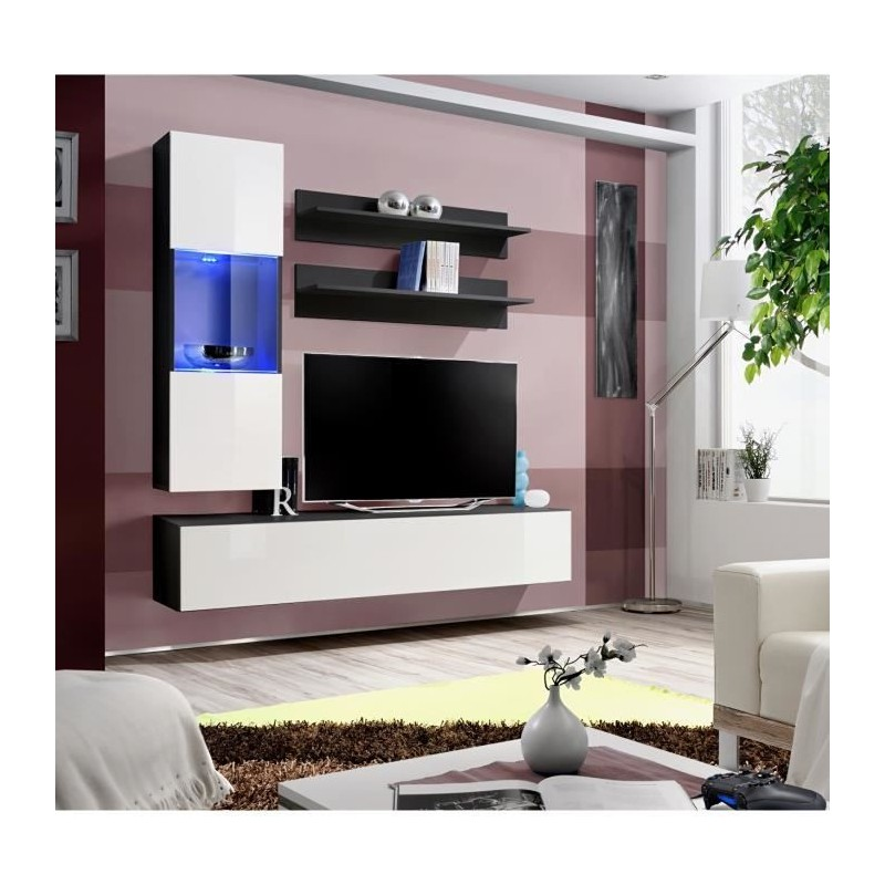 meuble tv fly h3 design coloris noir et blanc brillant meuble suspendu moderne et tendance. Black Bedroom Furniture Sets. Home Design Ideas