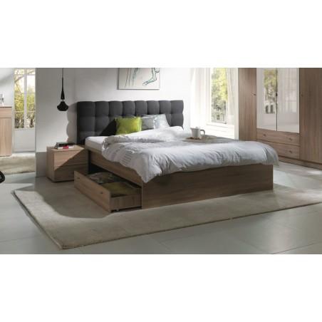 Ensemble pour chambre à coucher MAXIM. Lit 160x200 cm + tiroir + sommier + deux chevets + matelas à mémoire de forme