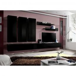 Meuble TV FLY E1 design, coloris noir brillant. Meuble suspendu moderne et tendance pour votre salon.