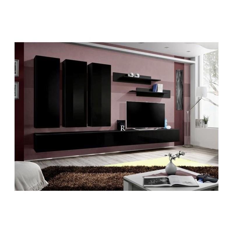 ENSEMBLE COMPLET Meuble TV FLY E1 design, coloris noir brillant. Me...