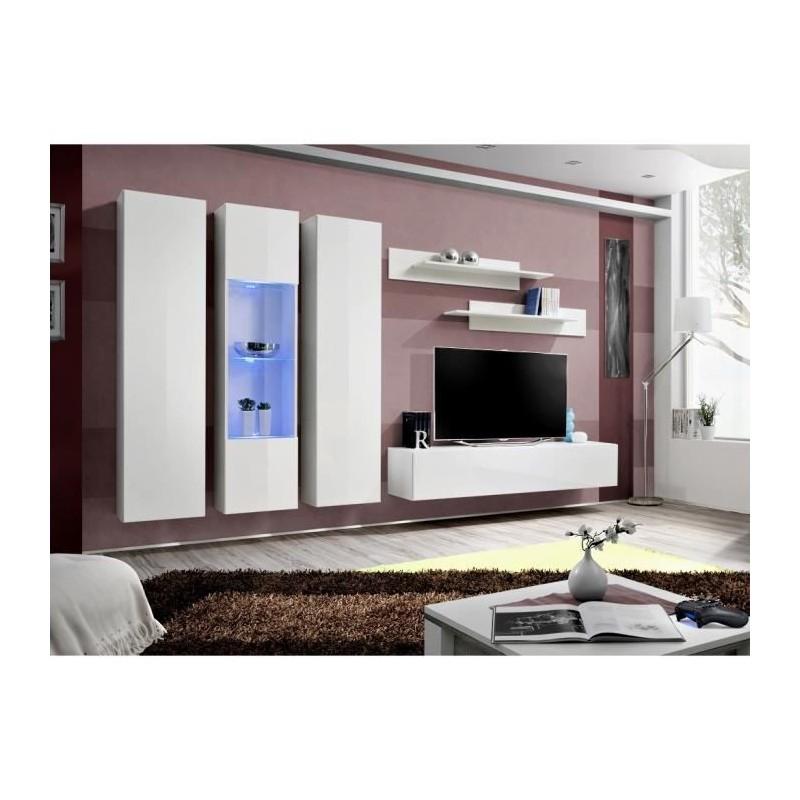 Meuble TV FLY C5 design, coloris blanc brillant. Meuble suspendu moderne et tendance pour votre salon.