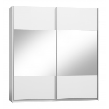 Armoire design deux portes coulissantes VERONA. Miroirs inclus. Coloris blanc alpins, finitions brillants