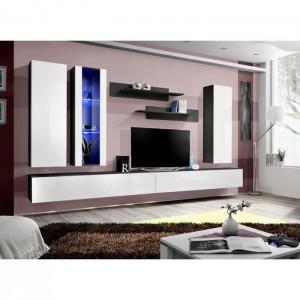 Meuble TV FLY E4 design, coloris blanc brillant. Meuble suspendu moderne et tendance pour votre salon.