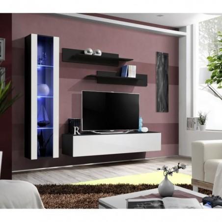 Meuble TV FLY G2 design, coloris noir et blanc brillant. Meuble suspendu moderne et tendance pour votre salon.