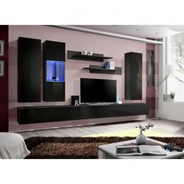 Meuble TV FLY E5 design, coloris noir brillant. Meuble suspendu moderne et tendance pour votre salon.
