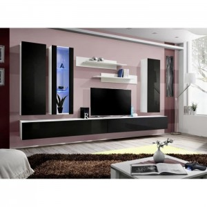Meuble TV FLY E4 design, coloris blanc et noir brillant. Meuble suspendu moderne et tendance pour votre salon.