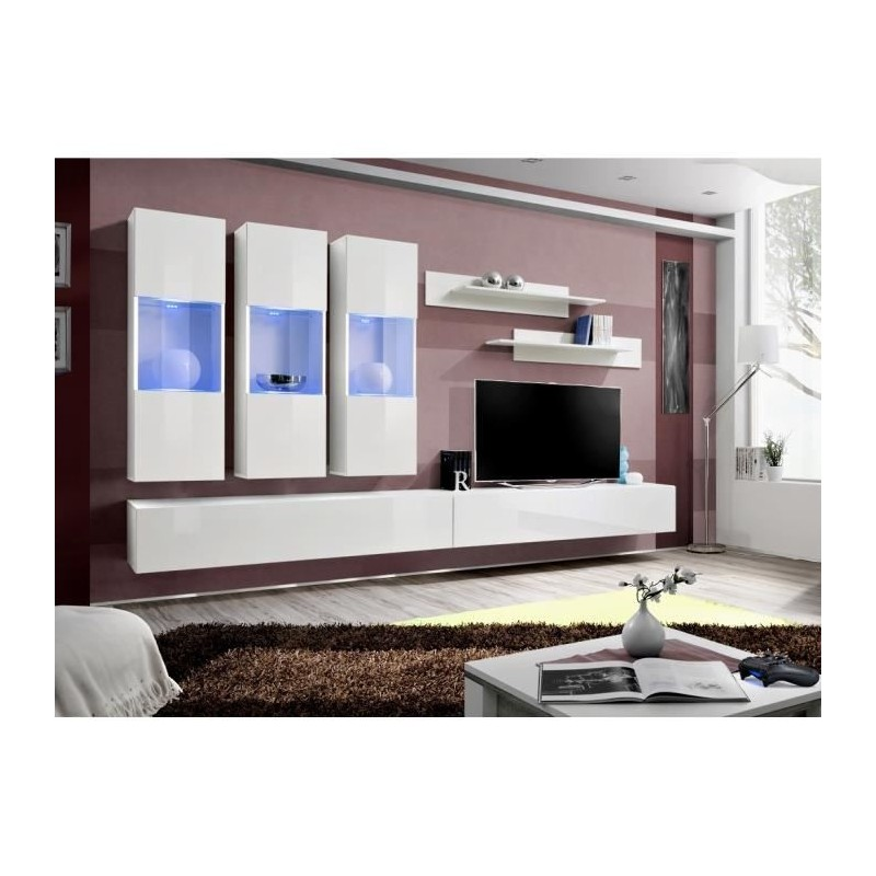 ENSEMBLE COMPLET Meuble TV FLY E2 design, coloris blanc brillant. M...