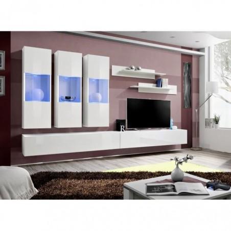 Meuble TV FLY E2 design, coloris blanc brillant. Meuble suspendu moderne et tendance pour votre salon.