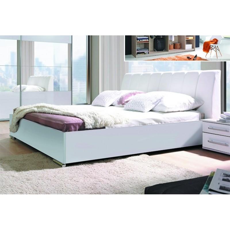 emble blanc brillant lit design en simili cuir et 2 chevets VERONA. Meuble design pour chambre à coucher