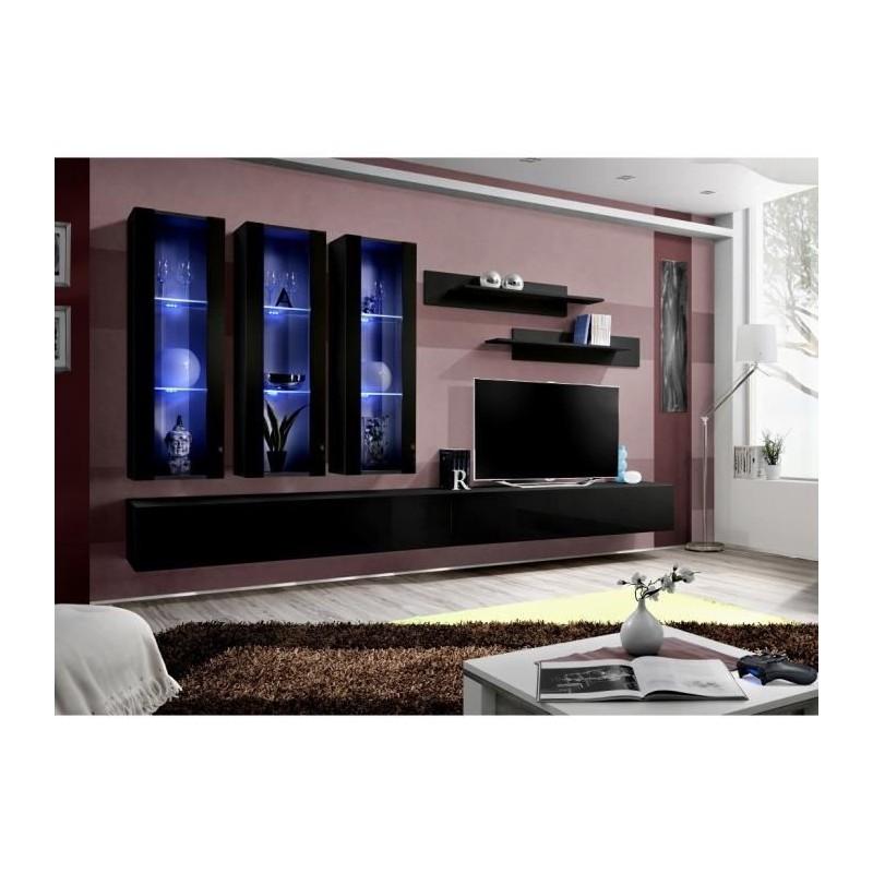 Meuble TV FLY E3 design, coloris noir brillant. Meuble suspendu moderne et tendance pour votre salon.