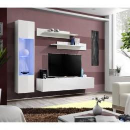 Meuble TV FLY G3 design, coloris blanc brillant. Meuble suspendu moderne et tendance pour votre salon.