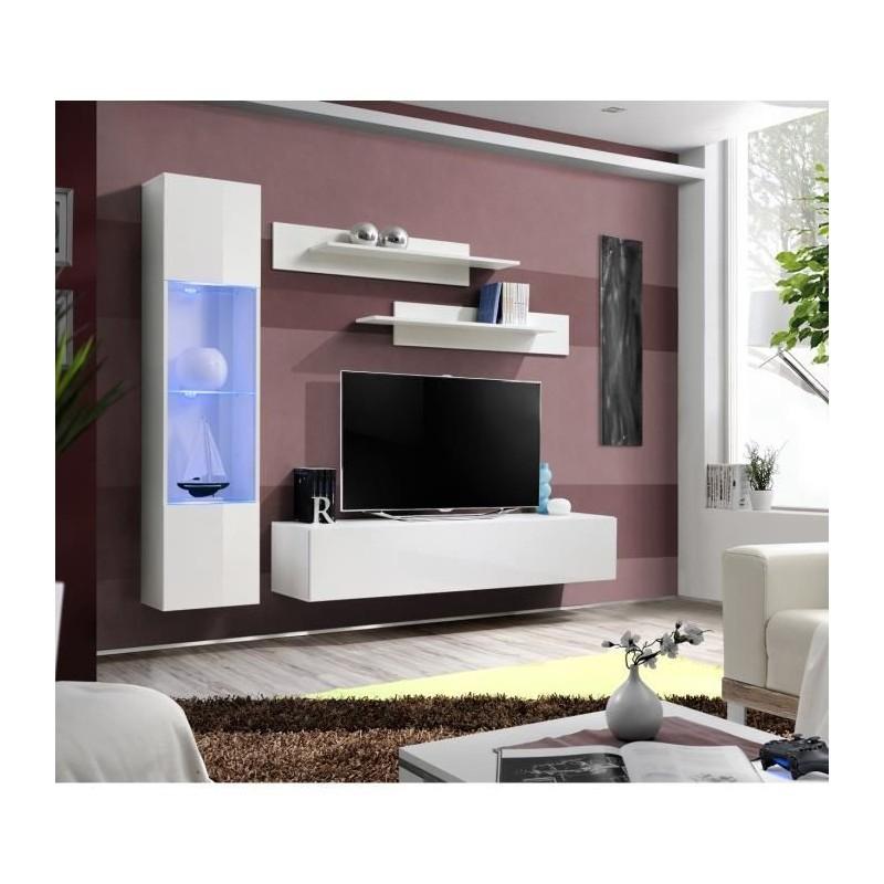 Salon Meuble Tv Fly G3 Design Coloris Blanc Brillant Meuble Suspe