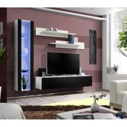 Meuble TV FLY G2 design, coloris blanc et noir brillant. Meuble suspendu moderne et tendance pour votre salon.
