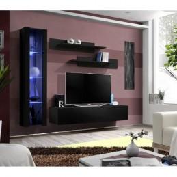 Meuble TV FLY G2 design, coloris noir brillant. Meuble suspendu moderne et tendance pour votre salon.