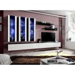 Meuble TV FLY E3 design, coloris noir et blanc brillant. Meuble suspendu moderne et tendance pour votre salon.