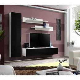 Meuble TV FLY G1 design, coloris blanc et noir brillant. Meuble suspendu moderne et tendance pour votre salon.