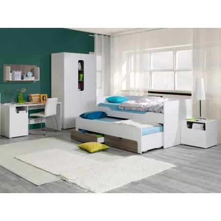 Chambre à coucher complète enfant/ados RICCO. Lit 90x200 cm + sommier + chevet + armoire + bureau.