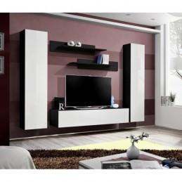 Meuble TV FLY A1 design, coloris noir et blanc brillant. Meuble suspendu moderne et tendance pour votre salon.