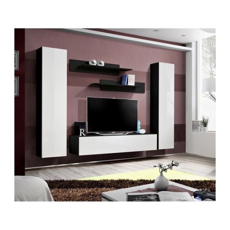 Salon meuble tv fly a1 design coloris noir et blanc brillant meub for Meuble salon noir et blanc