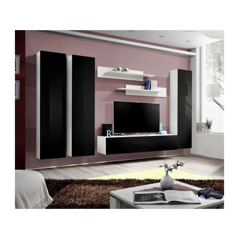 Salon meuble tv fly c1 design coloris blanc et noir brillant meub for Meuble pour salon moderne