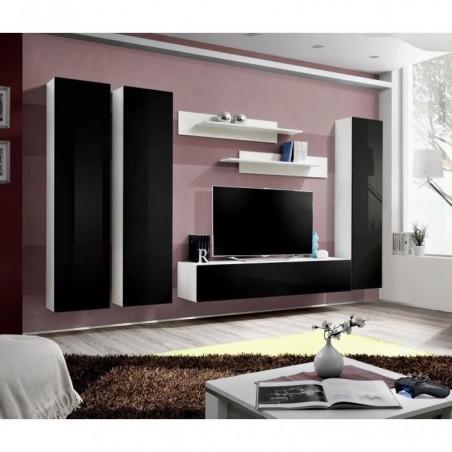 Meuble TV FLY C1 design, coloris blanc et noir brillant. Meuble suspendu moderne et tendance pour votre salon.