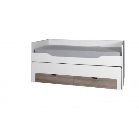 Ensemble RICCO blanc Lit gigogne design avec 2 tiroirs, sommier et chevet 2 espaces de rangement.