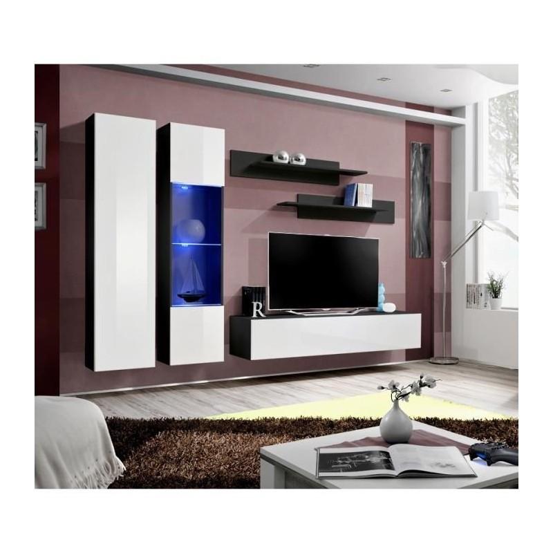 Meuble TV FLY A5 design, coloris noir et blanc brillant + LED. Meuble suspendu moderne et tendance pour votre salon.