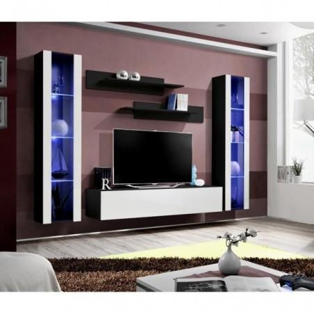 Meuble TV FLY A2 design, coloris noir et blanc brillant + LED. Meuble suspendu moderne et tendance pour votre salon.