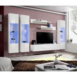 Meuble TV FLY C3 design, coloris blanc brillant. Meuble suspendu moderne et tendance pour votre salon.