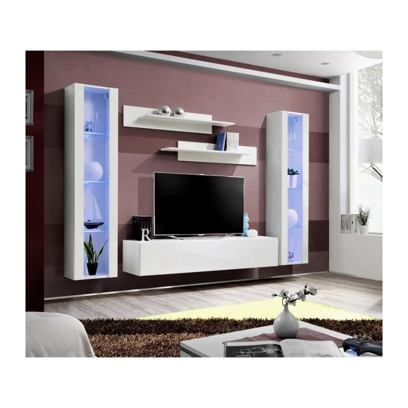 Meuble TV FLY A2 design, coloris blanc brillant + LED. Meuble suspendu moderne et tendance pour votre salon.